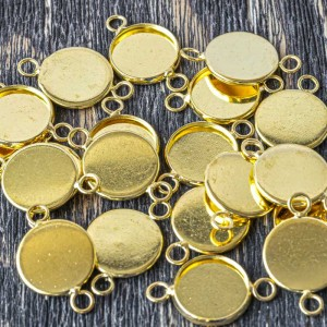 Коннектор-сеттинг 1-1 отв, цв. золото, 22x14x2 мм...