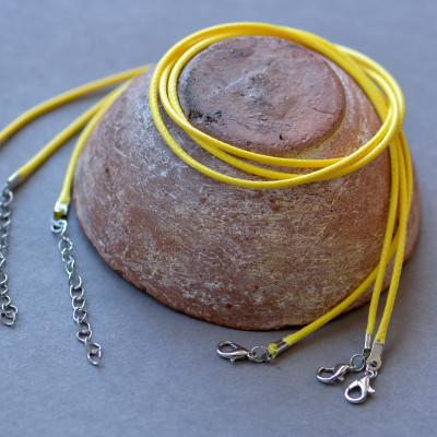 Основа для ожерелья, вощеный шнур, желтый, 450х2мм