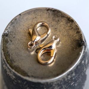 Замочек-лобстер, цвет - розовое золото, 6х10 мм...