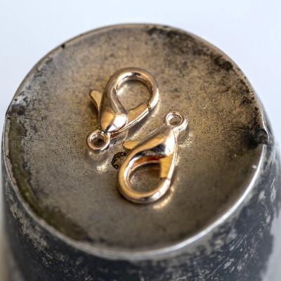 Замочек-лобстер, цвет - розовое золото, 6х10 мм
