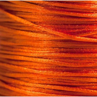Атласный шнур для кумихимо, оранжево-красный, 1 мм (4 м)
