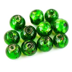 Бусина круглая стеклянная фольгированная, зеленый, 12 м...