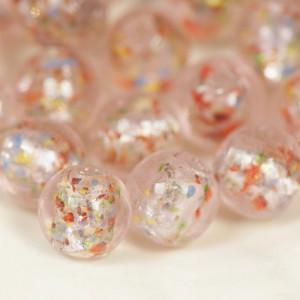 Бусина круглая стеклянная фольгированная, розовый, 12 м...