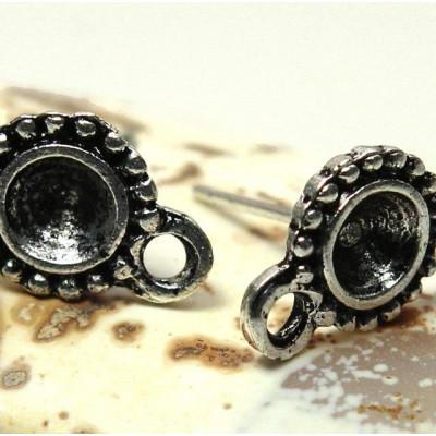 Пуссеты-гвоздики, античное серебро, 13х8.5 мм
