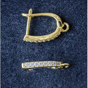 Швензы (основы для сережек), с цирконием,  позолота, 19...