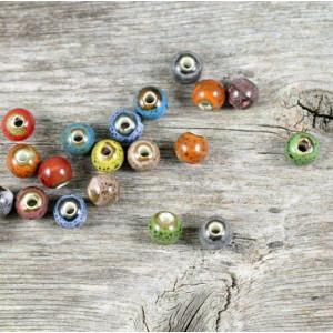 Бусина керамическая круглая, разные цвета, 6 мм...