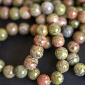 Бусина унакит 10, цвет зелено-коричневый, 10 мм...