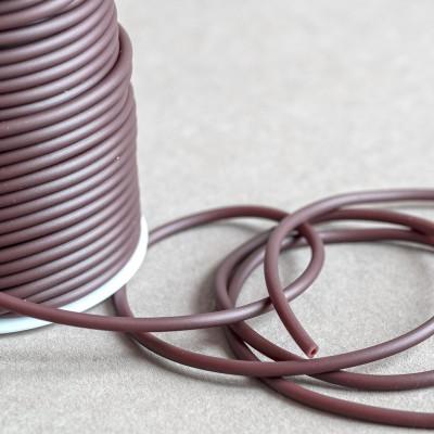 Шнур резиновый, с отверстием, цвет коричневый, диаметр 3 мм
