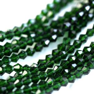 Бусина биконус стеклянная, зеленый, 4 мм (уп 30шт)...