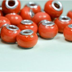 Бусина в стиле Пандора из стекла, оранжевый, 14х9 мм...
