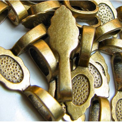 Бейл с платформой для кабошона, античная бронза, 26х8х7 мм