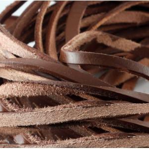 Шнур кожаный, плоский, цвет коричневый, 6х2.5 мм...