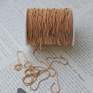 Цепочка для бижутерии, цв. светлое золото, шарик 1,5 мм...