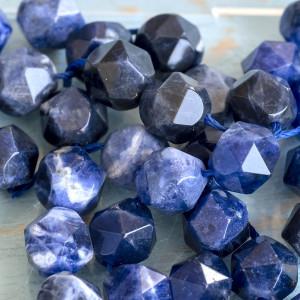 Бусина содалит 10, граненая, цвет синий, колорир., 10х9...