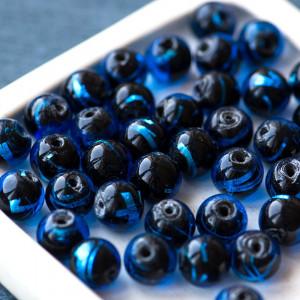 Бусина круглая стеклянная Лэмпворк, черный/синий, 10 мм...