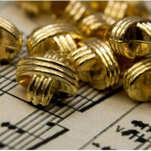 Бусина-тоннель металлическая, золото, 12x12x9 мм...