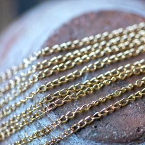 Цепочка для бижутерии, цвет - золото, размер звена 3х2х...