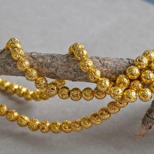 Бусина из натуральной лавы 8 мм, цвет золотистый...