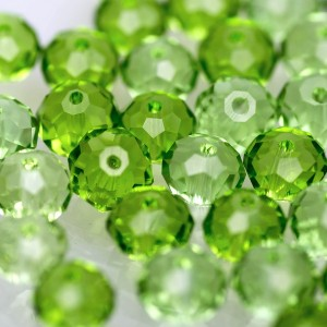 Бусина абакус стеклянная граненая, светло-зеленый, 8х6 ...