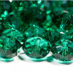 Бусина абакус стеклянная граненая, сине-зеленый, 14х10 ...