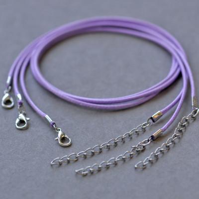 Основа для ожерелья, вощеный шнур, сиреневый, 450х2 мм