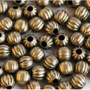 Бусина металлическая ребристая, античная бронза, 6 мм (...