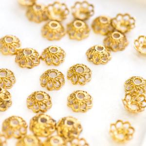 Шапочка для бусин в виде цветочка, золото, 9x4 мм...