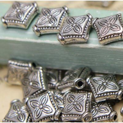 Бусина металлическая фигурная, античное серебро, 10х9x3 мм