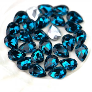 Кабошон стеклянный с гранями, капля, морской синий, 14х...