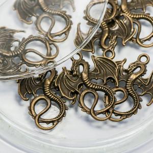 Подвеска металлическая в виде дракона, античная бронза,...