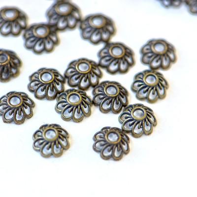 Шапочка для бусин в виде цветочка, античная бронза, 9x4 мм