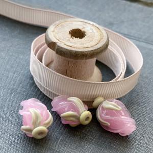 Репсовая лента, серо-розовый, ширина 9,5 мм...