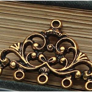 Коннектор 1-5 отв, античное золото, 13x17x2 мм...