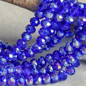 Бусина абакус стеклянная граненая, ярко-синий радужный,...