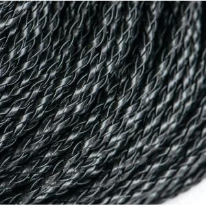Шнур плетеный, из искусственной кожи, черный, 3 мм...