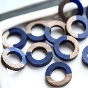 Коннектор смола/дерево, кольцо, дерево/синий, 18x4 мм...