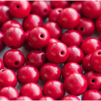 Бусина говлит синтетический, круглая, цвет красный, 10 мм