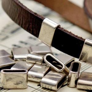 Бусина-слайдер металлическая, античное серебро, 8х13х5 ...