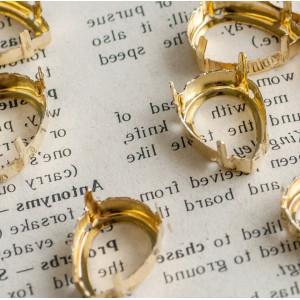 Цапы формы капля, открытые, цвет золото, 18х13 мм...
