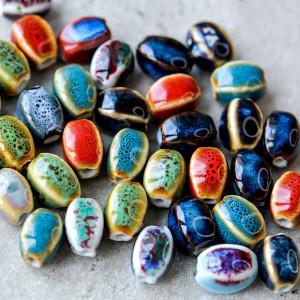 Бусина керамика, цветовой микс, 14-12х10-9х11-9 мм...