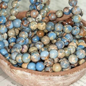 Бусина варисцит 8, цвет голубой, колорир., 8 мм...
