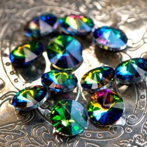 Кабошон стеклянный круглый Риволи, разноцветный с перел...