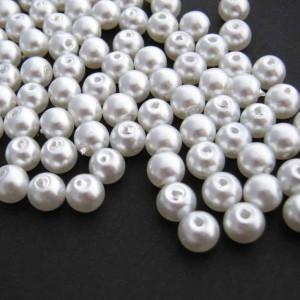 Бусина стеклянный жемчуг, белый матовый, 4 мм (уп 50шт)...