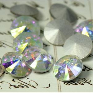 Кабошон стеклянный круглый Риволи, радужный, 14х7 мм...