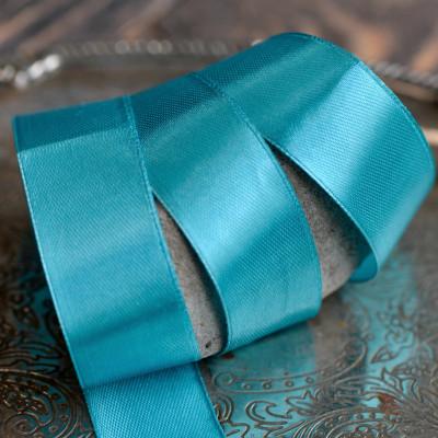 Лента, атлас, цвет яркий бирюзовый, ширина 25 мм