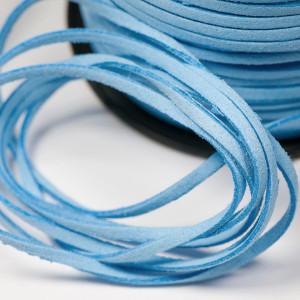 Шнур из искусственной замши, голубой, 3х1.5 мм...
