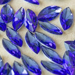 Кабошон стеклянный с гранями, капля, светло-синий, 18х9...