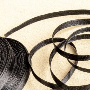 Атласная лента, черный, ширина 6 мм...