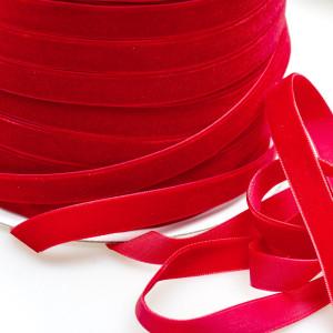 Бархатная лента, красный, ширина 12,7 мм...