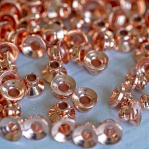 Шапочка для бусин, цв. розовое золото, 6х4 мм...
